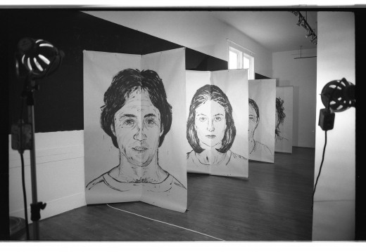 """Image is of Ken Dollar's large scale portraits of some of Western Front's residents and """"regulars"""" in the """"Faces Front"""" exhibition. Portraits (first to last) Hank Bull, Jane Ellison, Glenn Lewis and Kate Craig."""