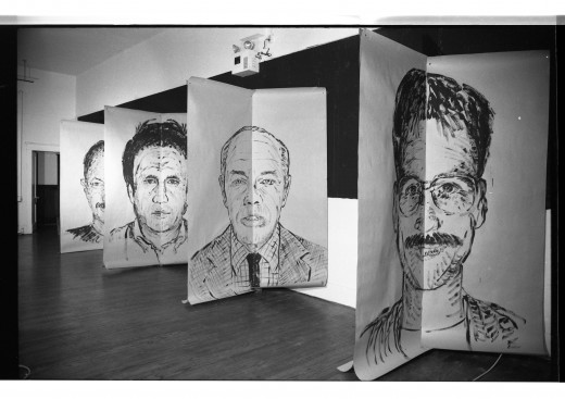 """Image is of Ken Dollar's large scale portraits of some of Western Front's residents and """"regulars"""" in the """"Faces Front"""" exhibition. Portraits in order, Patrick Ready, Henry Greenhow, Eric Metcalfe, Martin Bartlett."""