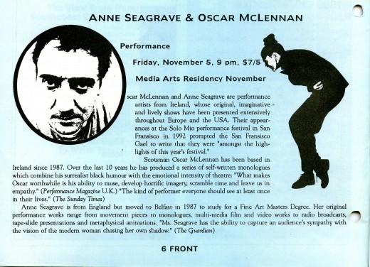Seagrave & McLellan Event Listing, Front Magazine (Nov/Dec 1993)