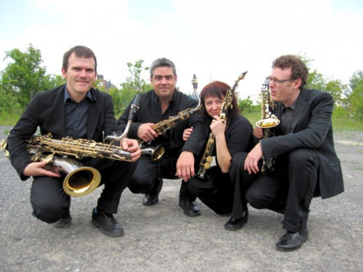 Quasar Saxophone Quartet. Left to right: Jean-Marc Bouchard, André Leroux , Marie-Chantal Leclair, Mathieu Leclair. Photo by François Morin.
