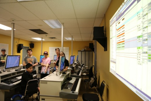 Burnaby North High students get an introduction to Abelton at the Vancouver Community College computer labs. Photo Credit: Roisin Adams