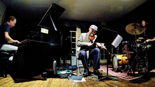 (L to R) Matt Maneri, Ches Smith, and Craig Taborn. Photo courtesy of the artists.
