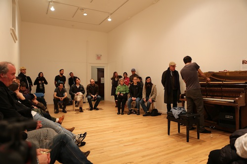 Andrew Wedman's artist talk and performance. Photo by Roisin Adams