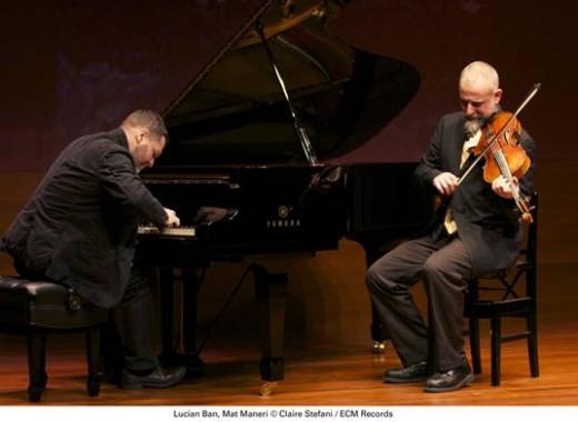 Lucian Ban (L) and Mat Maneri (R) perform Transylvanian Concert. Photo by Claire Stefani.
