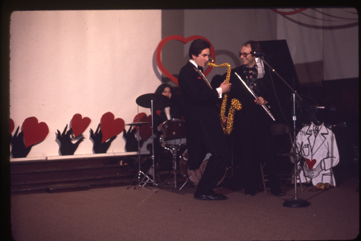 Eric Metcalfe playing saxophone at the ball.
