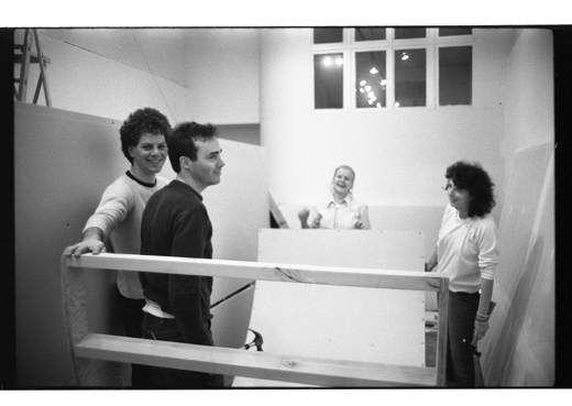(L to R) Alan Storey, unknown, Catherine McLean and Daina Augaitis assist the installation of 'Clairaudience', 1983