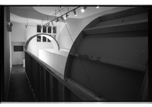 An angled aerial view of the corridors built for 'Clairaudience' in the Western Front Gallery, 1983