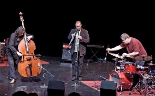 Joëlle Léandre, François Houle & Raymond Strid. Vancouver, July 26, 2009 Photo: Laurence Sirchev
