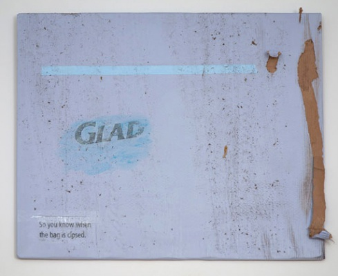 Lee Kit, Glad: Run over by a car, 2011, Acrylic, emulsion paint, heat-melt glue and inkjet ink on cardboard. Image credit Kevin Schmidt