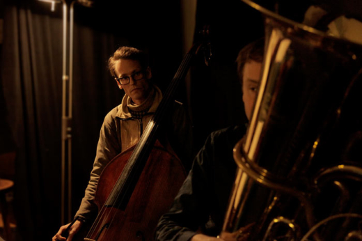 Christopher Williams (contrabass) and Robin Hayward (tuba), Reidemeister Move. Photo by Sam Muirhead.