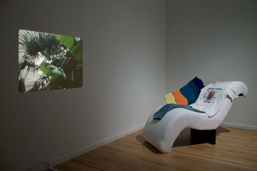Tamara Henderson, Neon Figure, 2013, 16 mm film and Pacific Peace, 2013, mixed media. Image credit Meagan Hill-Carroll