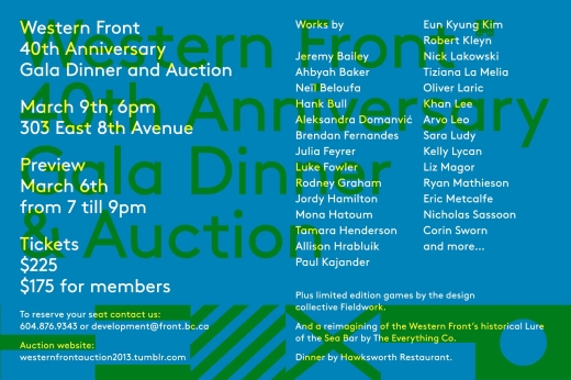 Western Front 40th Anniversary Gala Dinner & Auction
