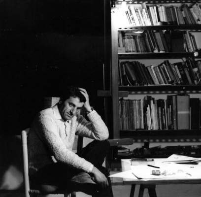 Iannis Xenakis in his studio, Paris, c. early 1960s. Photographer: Adelmann. Collection of Françoise Xenakis