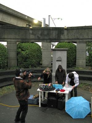 Intersections @ Angelo Branca Memorial, 2009. L-R Andrew Lee, Prophecy Sun, Sarah Buchanan, Brady Marks Photo: Ben Wilson