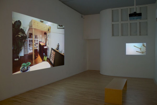 Abbas Akhavan, Installation view of green house, 2013 (from left: Crew, video projection; Nursery, video projection). Image by Maegean Hil-Carroll