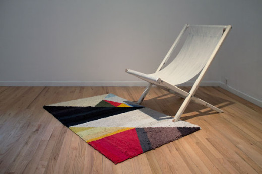 Installation view of Properties, Erica Stocking,To My Sweetheart (2011) and Deck Chair 404 E. Pender (2011)