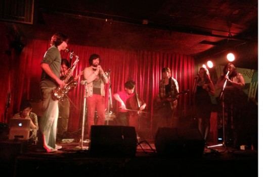 Dissonant Disco, Cobalt, 2013. Left to right: J.J Hartmann, Clinton Ackerman, Alex Mah, Scott Jeffrey, Remy Siu, Maren Lisac, Sarah Lubbe, Ashley Aaron. Photo by Gabsung Lim.