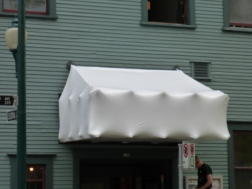 Shrink wrapped canopy, 2013. Image courtesy of the artist