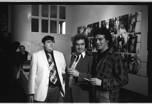 "Michael Morris, Peter Fraser, unidentified at ""Documents from the Theatre of the Actual"", 1978"