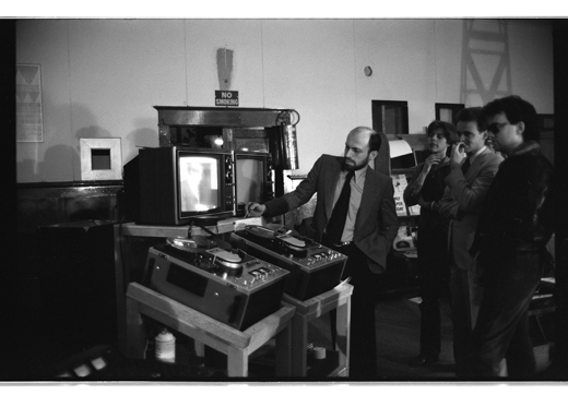 "Jorge Zontal, unidentified, AA Bronson, unidentified, ""Press Conference"", 1977"