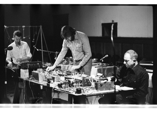 "Daniel Scheidt, Doug Collinge, Martin Bartlett, ""Accumulator"" and ""Travellers' Tales"", 1982"