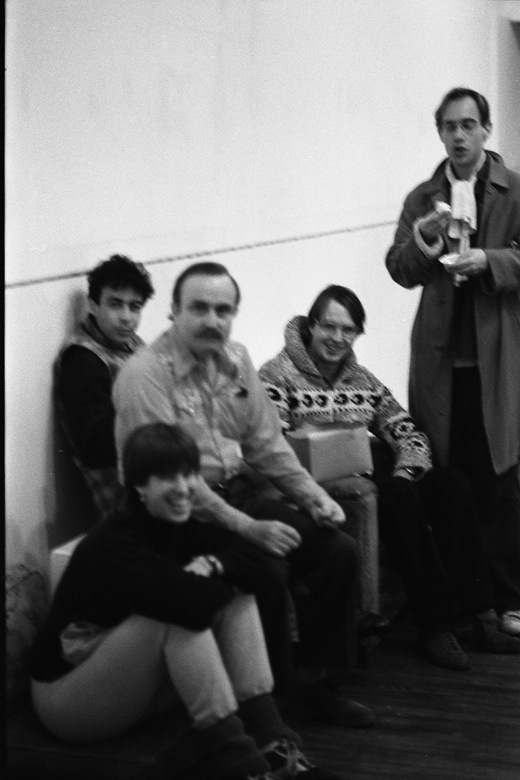Alvin Lucier and four unidentified people.