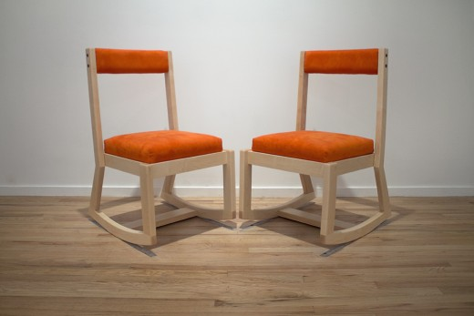 "Bunny Rogers, ""Clone State Chairs (Version A)"", maple, faux suede, wool, hardware, wood ash, 2014. Photo credit: Maegan Hill-Carroll."