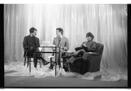 Eric Metcalfe, Hank Bull and Kate Craig on set form the Vancouver Philosophical Society , 1984.