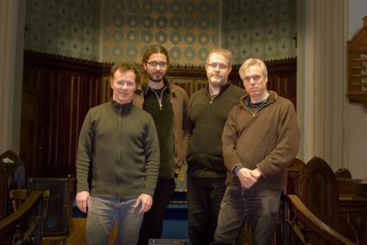 Tim Crofts, Norman Adams, Lukas Pearse with Gerry Hemingway. Photo by Andrew Danson Danushevsky.