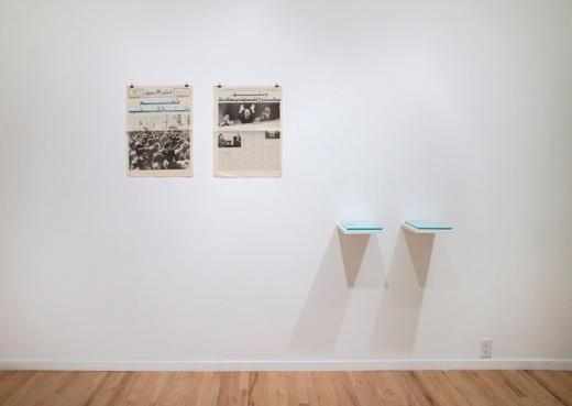 Rana Hamadeh, Can You Make a Pet of Him Like a Bird or Put Him on a Leash For Your Girls? (installation view), Western Front, 2015. Newspapers. Photo by Maegan Hill Carroll.