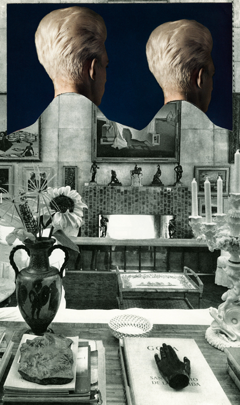 Elizabeth Zvonar, Happy Together, collage printed on silk, 38 x 62 in, 2015. Image courtesy of the artist.