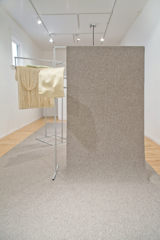 Jacqueline Kiyomi Gordon, A Space for Looking is a Space for Listening (installation view), Western Front, 2016. Ceramic, fabric, extruded aluminum, HSS directional speakers, software. Photo by Maegan Hill-Carroll.