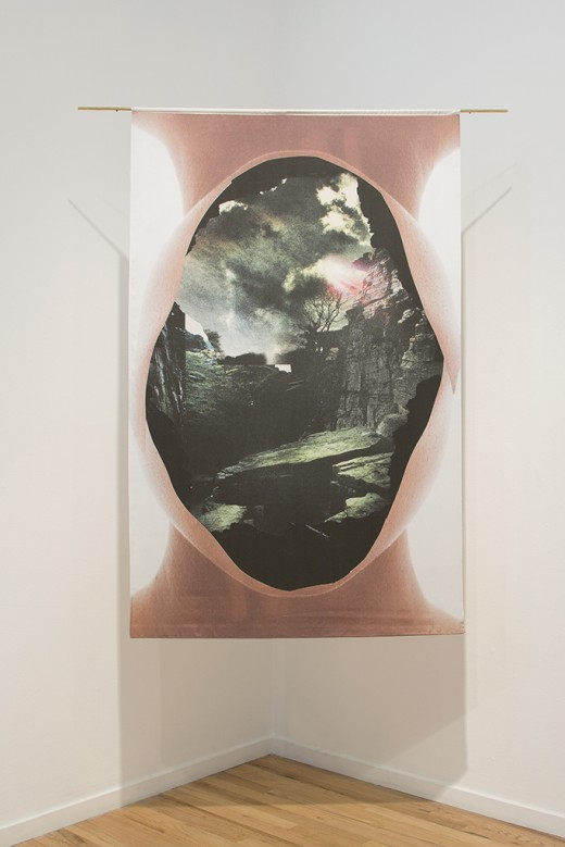 "Elizabeth Zvonar, ""Double Header"", Cut, Western Front, 2015. Collage printed on silk. Photo by Maegan Hill-Carroll."