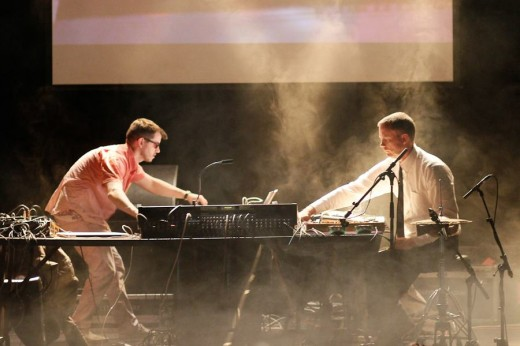 Matmos: Drew Daniel (L) and MC Schmidt (R) perform.