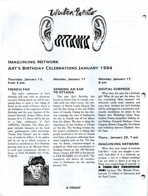 Imag(in)ing Network: Art's Birthday Celebrations January 1994 - Front Magazine (Jan/Feb 1994)