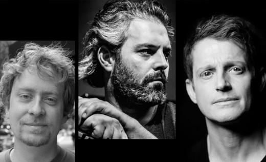 L to R: Matt Mitchell, Gordon Grdina, Jim Black. (Photo Cred L to R: John Rogers, Peter Gannushkin, Susie Knoll)