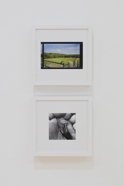 "Duane Linklater, ""for layli long soldier"" and ""for elisa harkins"" (top to bottom), framed digital prints mounted to dibond, 16'' x 16'', Western Front, 2017. Photo courtesy of Dennis Ha."