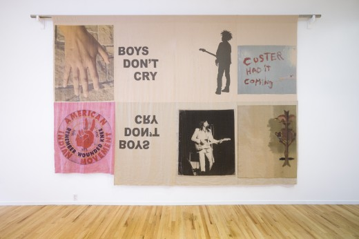 "Duane Linklater, ""boys don't cry"", digital print on hand dyed linen, 15' x 10', Western Front, 2017. Photo courtesy of Dennis Ha."