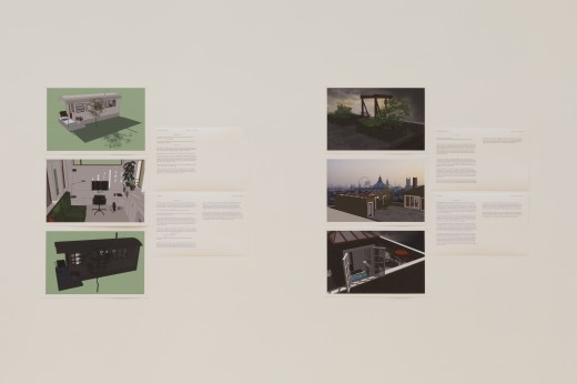 Ellie Epp, house (detail), digital print of SketchUp renderings, text, Western Front, 2018. Curated by Jacob Korczynski. Photo courtesy of Dennis Ha.