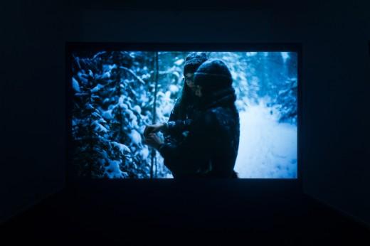 "Gabrielle L'Hirondelle Hill, Chandra Melting Tallow, Jeneen Frei Njootli, Tania Willard, ""Coney Island Baby"" (installation view), Western Front, 2018, digital video, 12 minutes. Photo courtesy of Dennis Ha."
