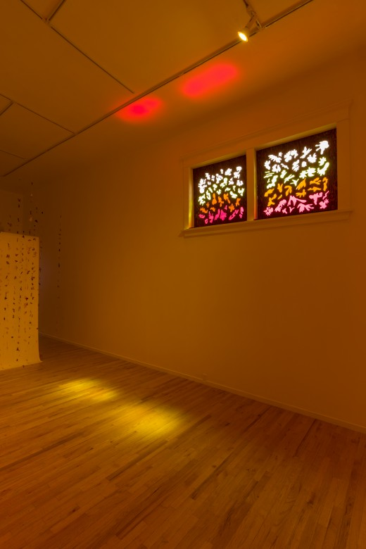 Nicole Kelly Westman. cuculoris, a time machine for shadows, laser cut fir plywood, shadow drawings of dappled light from sodium vapor lamps and sunlight, exposed windows, 2019. Photo: Dennis Ha