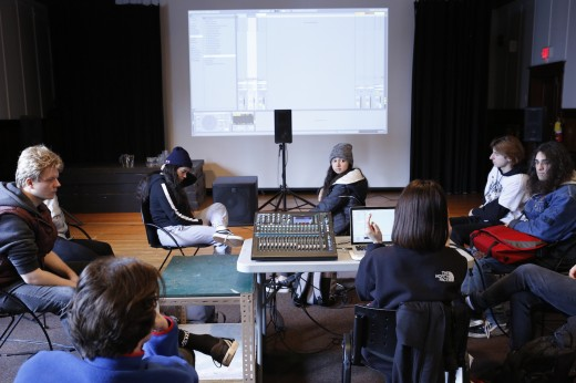 Electronic music workshop with students from Burnaby North Secondary School led by Yu Su. Photo: Lief Hall.